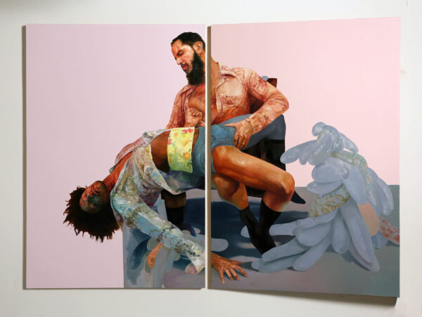 """soletthemeatasylumpink, 2016   Oil and latex on wood panels 72"""" x 96"""" x 10""""   Courtesy of Monique Meloche Gallery and the artist"""