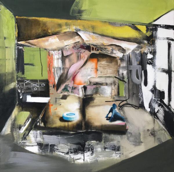 "Bedroom #3 Oil enamel, mixed media on canvas 48"" x 48"" 2018"